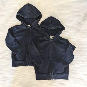 2 H&M navy uniform zip-up hoodies